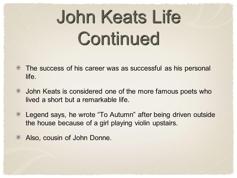 John Keats Life Continued