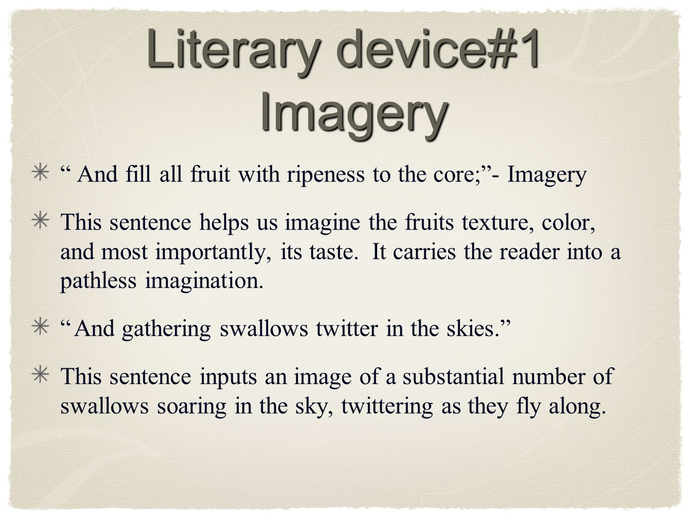 Literary device#1 Imagery