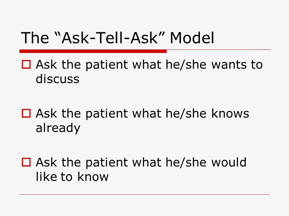 The Ask-Tell-Ask Model