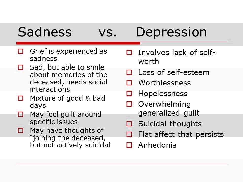 Sadness vs. Depression Involves lack of self-worth Loss of self-esteem