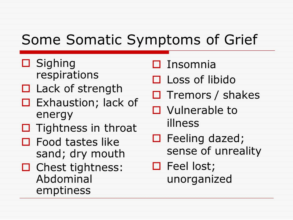 Some Somatic Symptoms of Grief