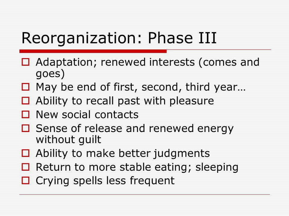 Reorganization: Phase III