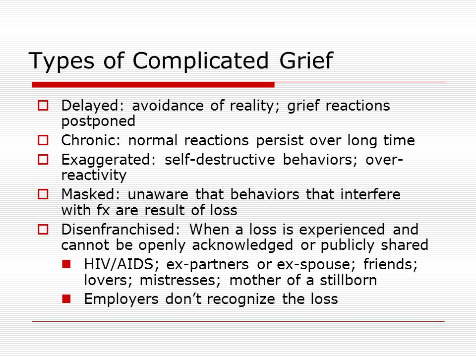 the characterization of disenfranchised grief complicated mourning and intuitive grievers Related to grief and bereavement  intuitive grievers (disenfranchised late) instrumental grievers (disenfranchised early) us society kin-based latest resource 20  of complicated grief per year (raphael, redmond) 21 rule of thumb: can or can't manage day-to-day living.