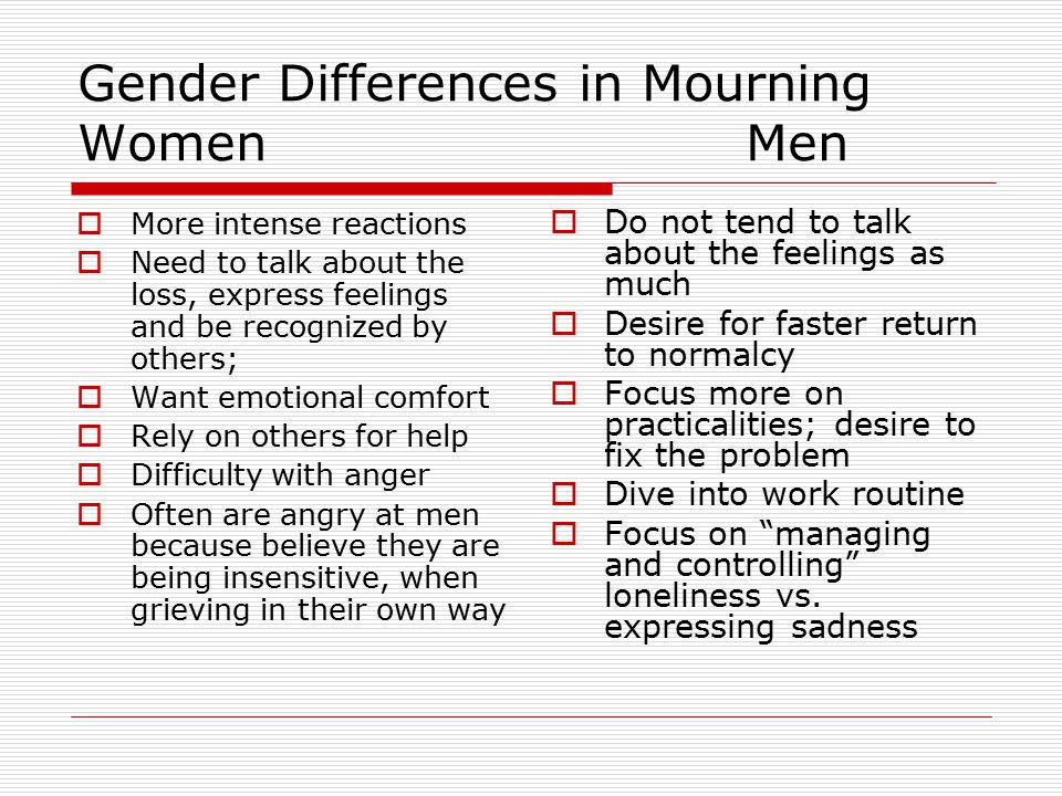 Gender Differences in Mourning Women Men