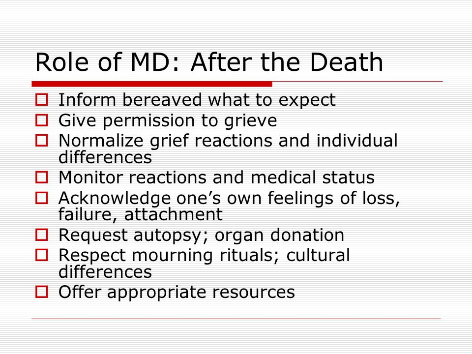 Role of MD: After the Death