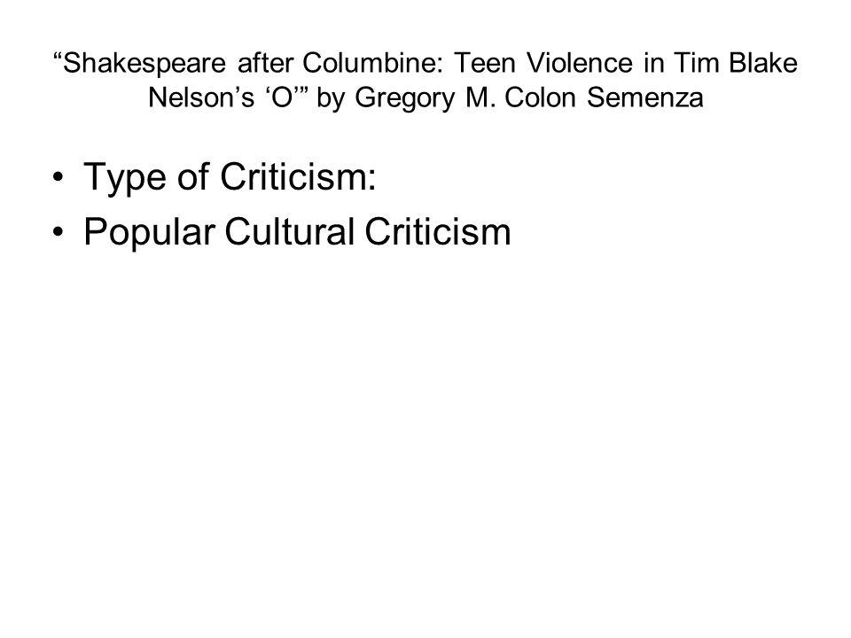 Popular Cultural Criticism