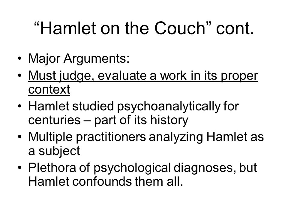 Hamlet on the Couch cont.