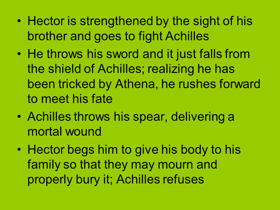 Hector is strengthened by the sight of his brother and goes to fight Achilles