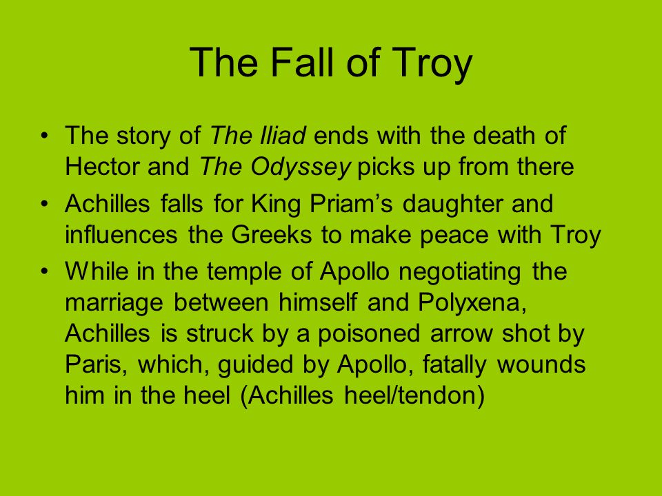 The Fall of Troy The story of The Iliad ends with the death of Hector and The Odyssey picks up from there.