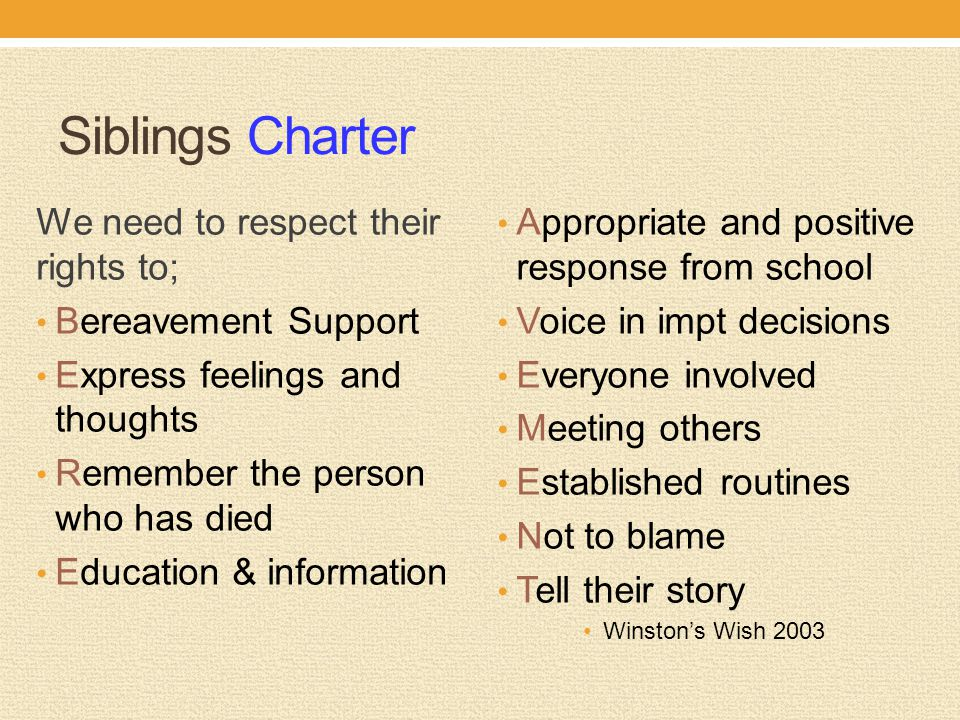 Siblings Charter We need to respect their rights to;