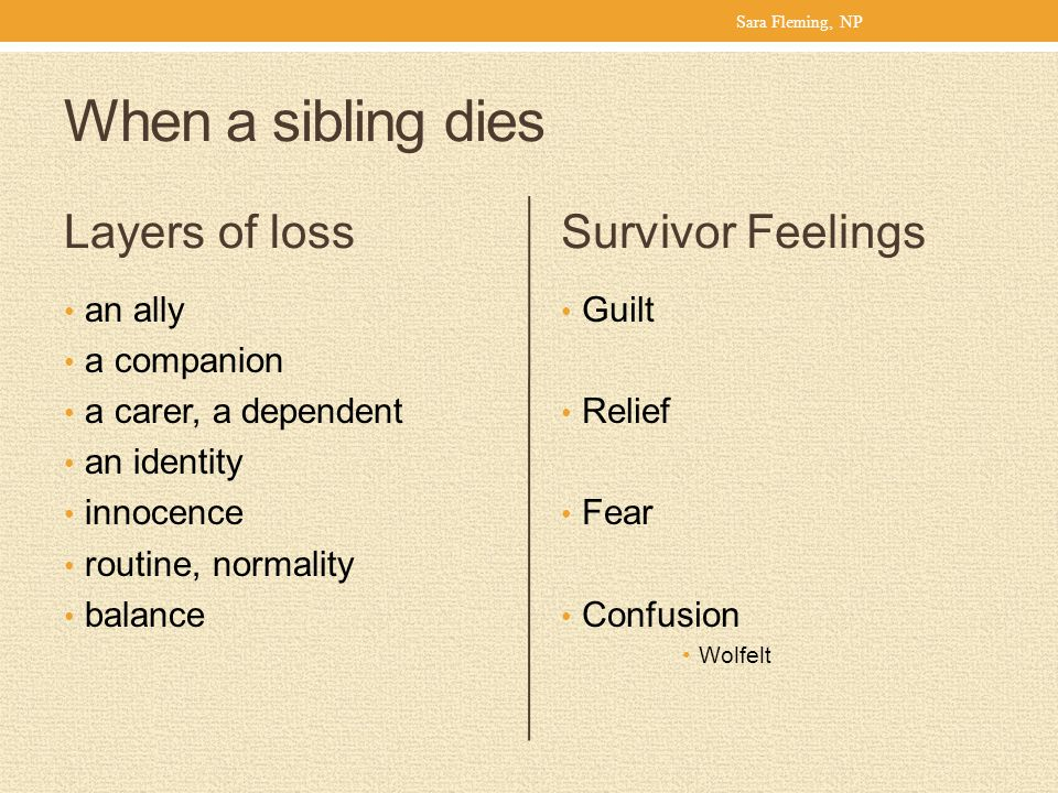 When a sibling dies Layers of loss Survivor Feelings an ally