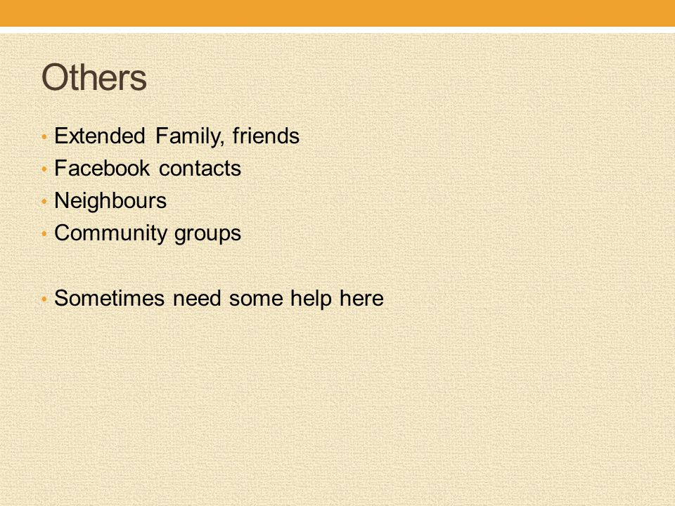 Others Extended Family, friends Facebook contacts Neighbours