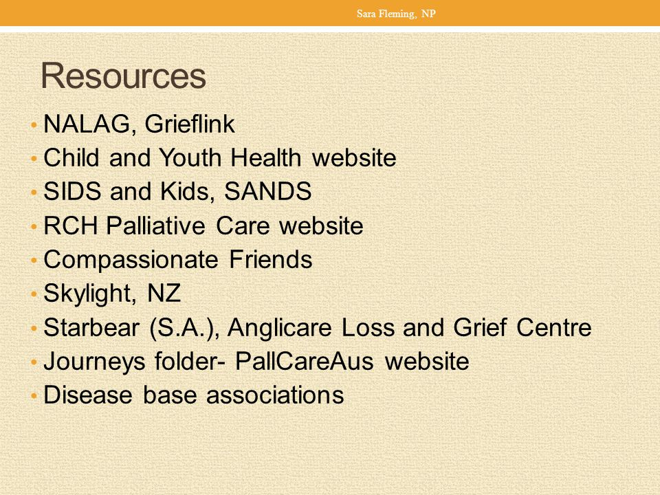 Resources NALAG, Grieflink Child and Youth Health website