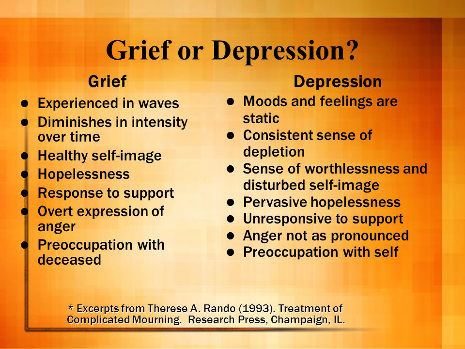 Grief or Depression Grief Depression Experienced in waves