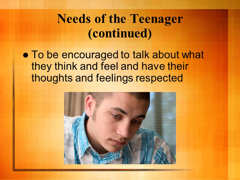 Needs of the Teenager (continued)
