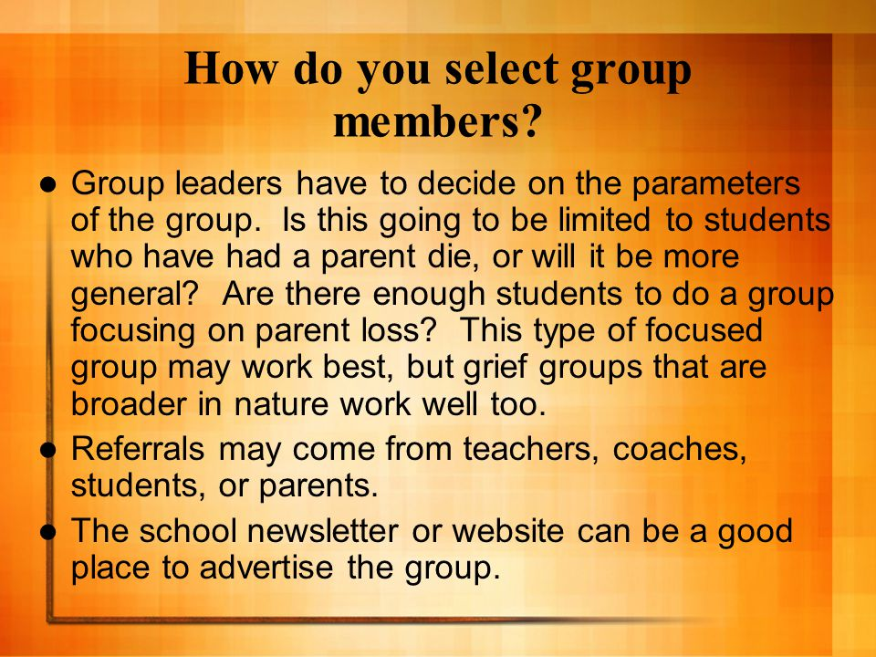 How do you select group members