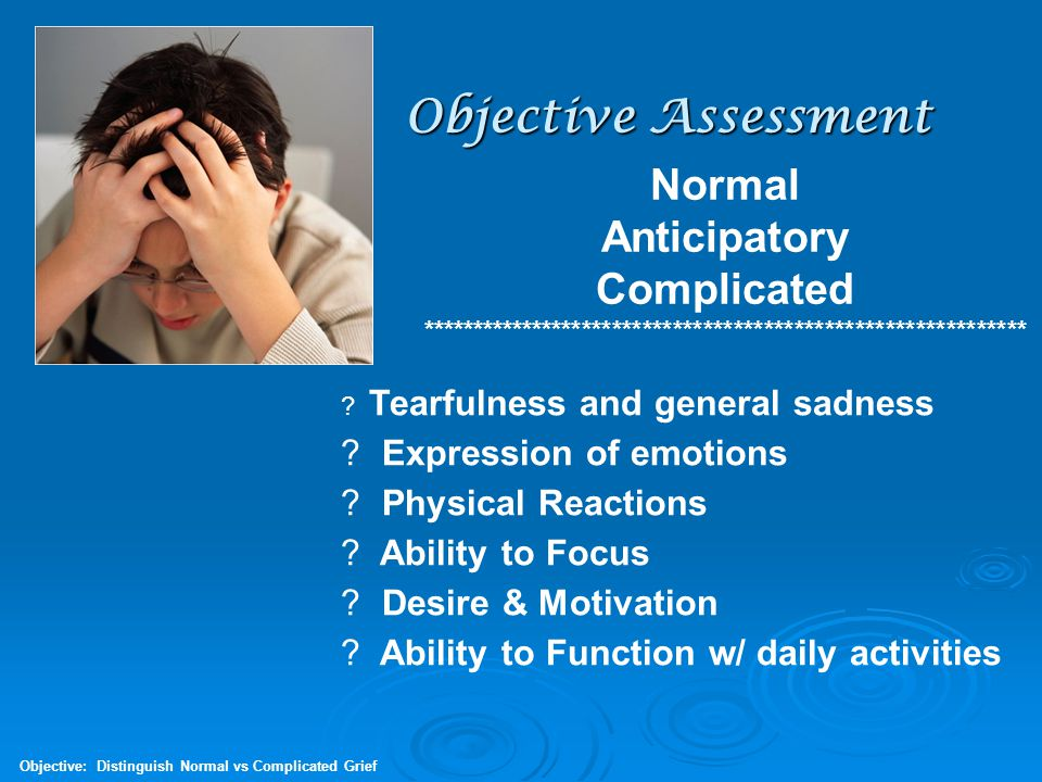 Objective Assessment Normal Anticipatory Complicated