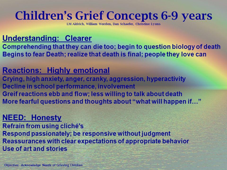 Children's Grief Concepts 6-9 years LM Aldrich, William Worden, Dan Schaefer, Christine Lyons
