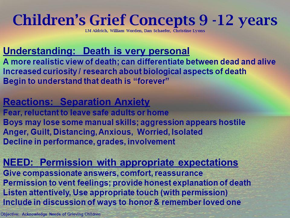 Children's Grief Concepts 9 -12 years LM Aldrich, William Worden, Dan Schaefer, Christine Lyons