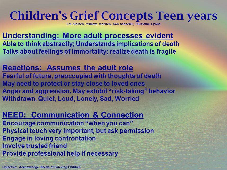 Children's Grief Concepts Teen years LM Aldrich, William Worden, Dan Schaefer, Christine Lyons