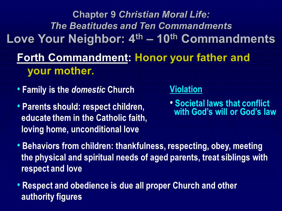 Forth Commandment: Honor your father and your mother.
