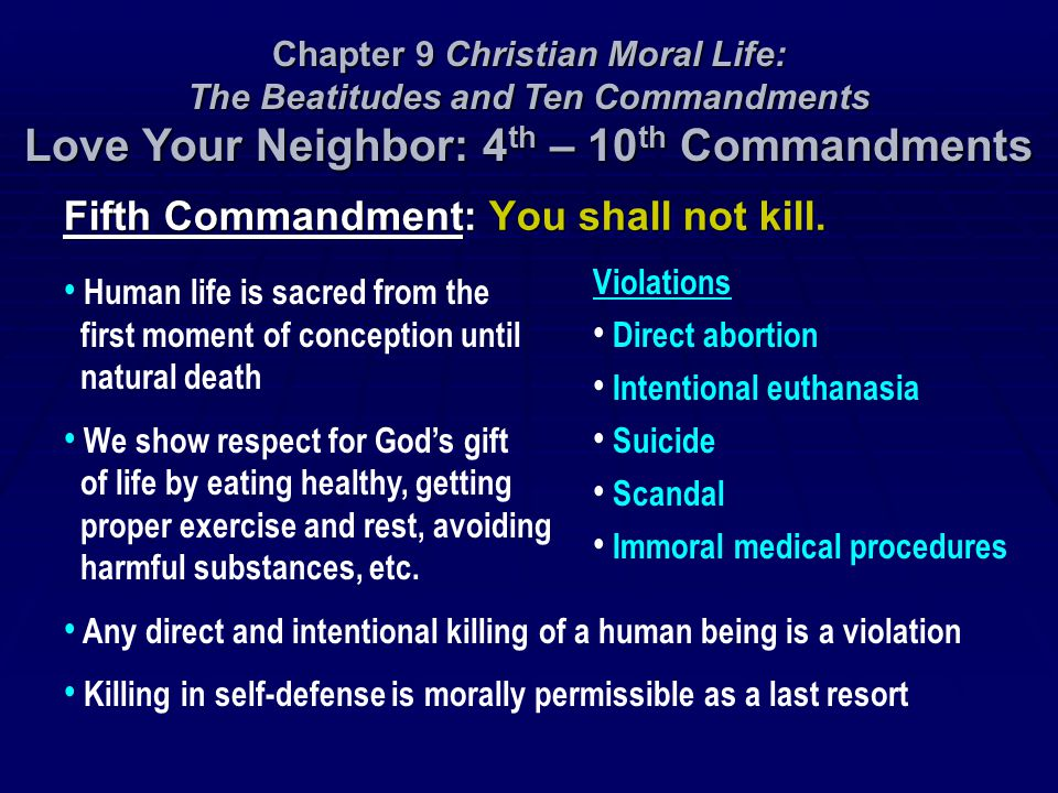 Fifth Commandment: You shall not kill.
