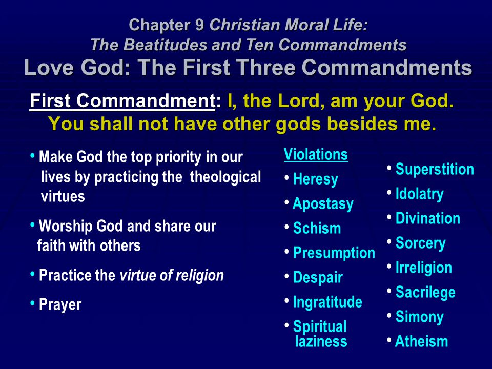 Chapter 9 Christian Moral Life: The Beatitudes and Ten Commandments Love God: The First Three Commandments
