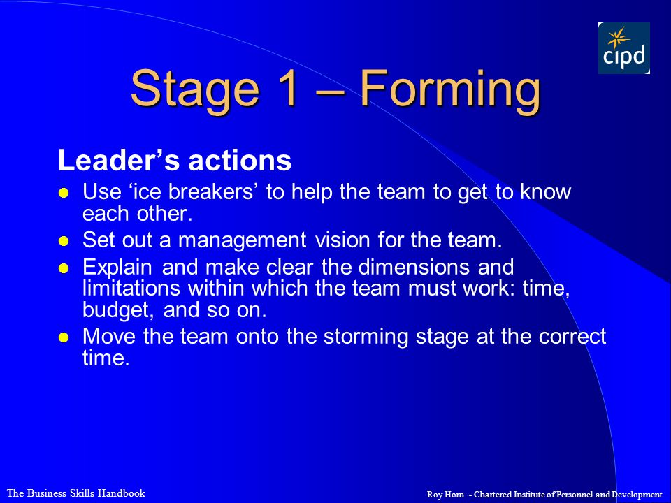 Stage 1 – Forming Leader's actions