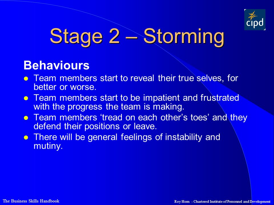 Stage 2 – Storming Behaviours
