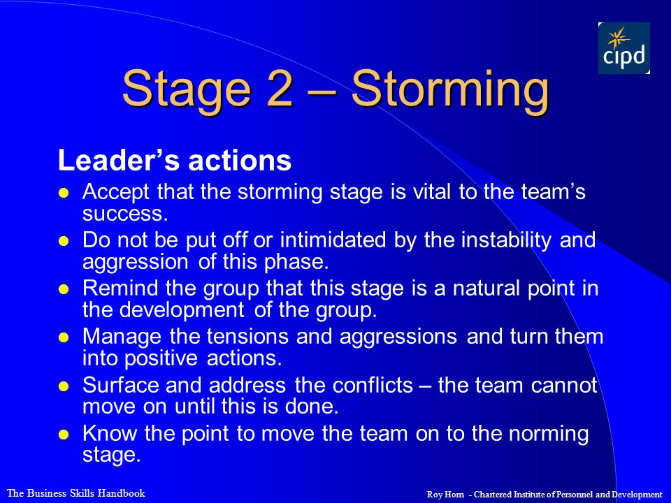 Stage 2 – Storming Leader's actions