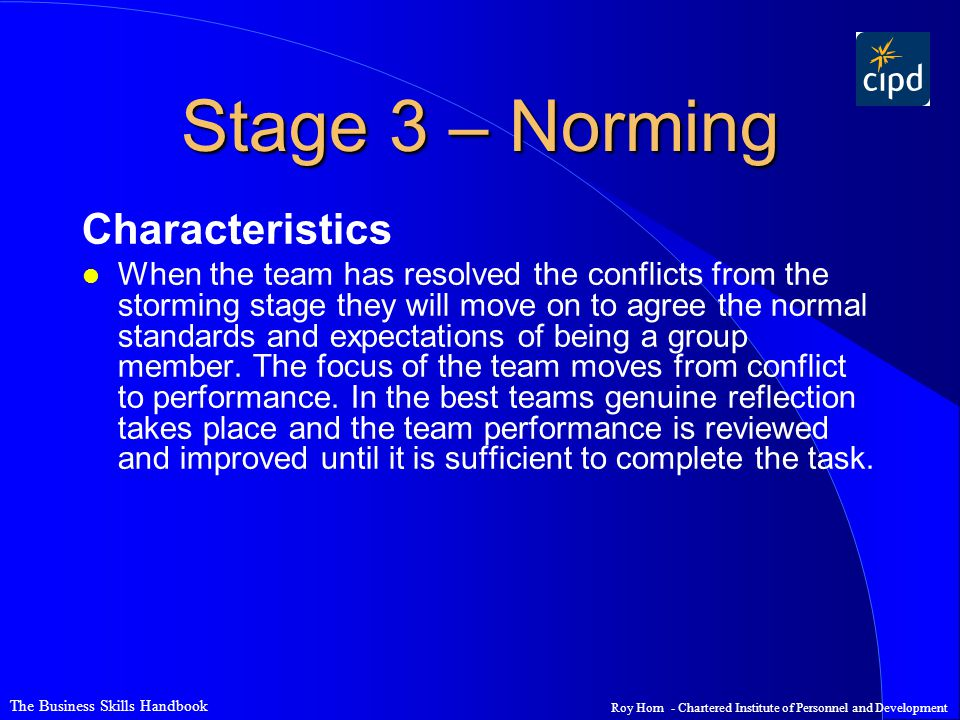 Stage 3 – Norming Characteristics