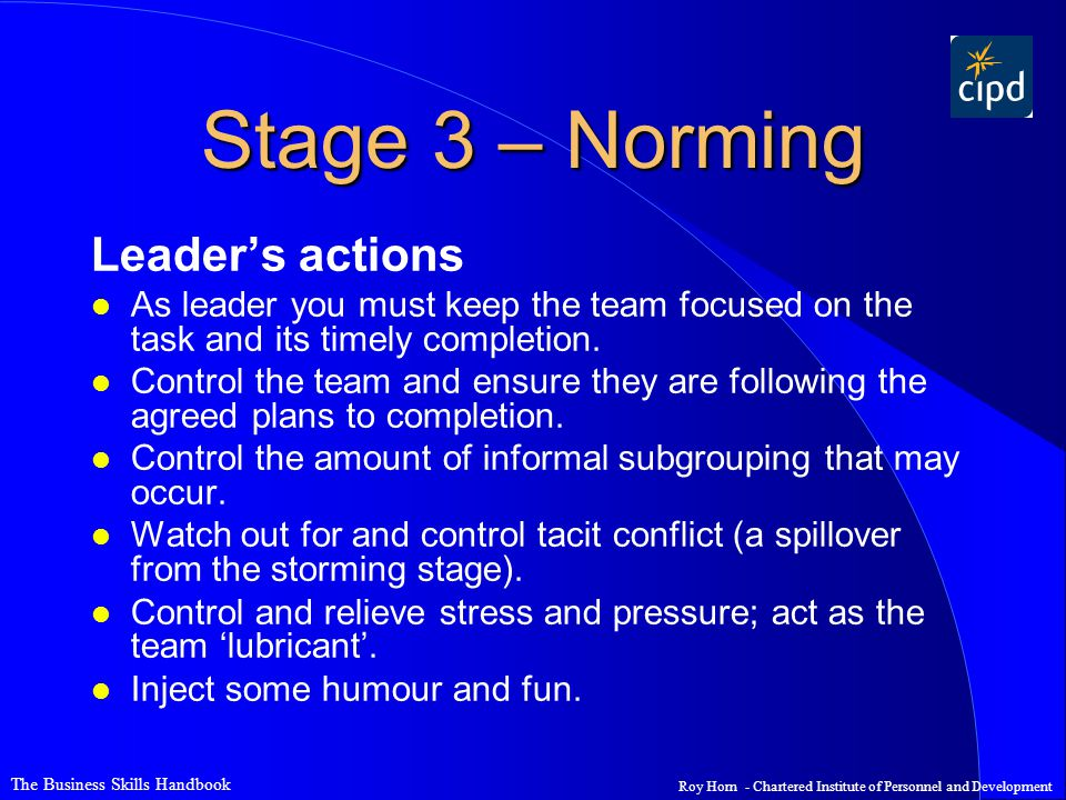 Stage 3 – Norming Leader's actions
