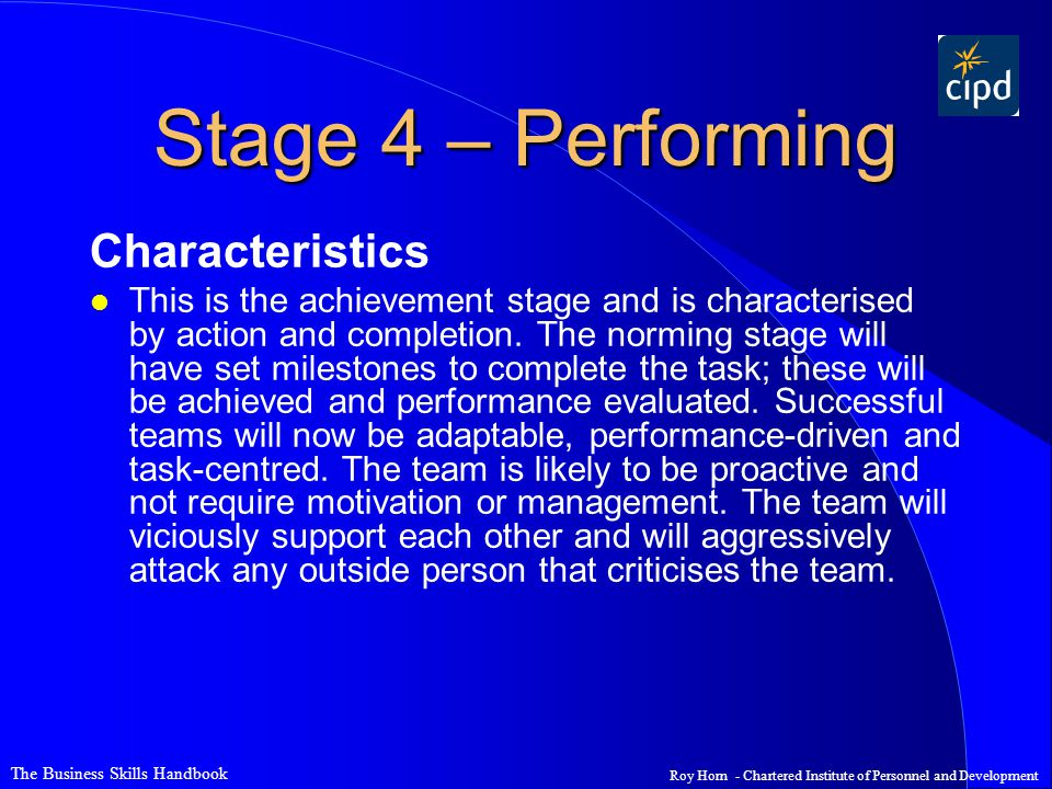 Stage 4 – Performing Characteristics
