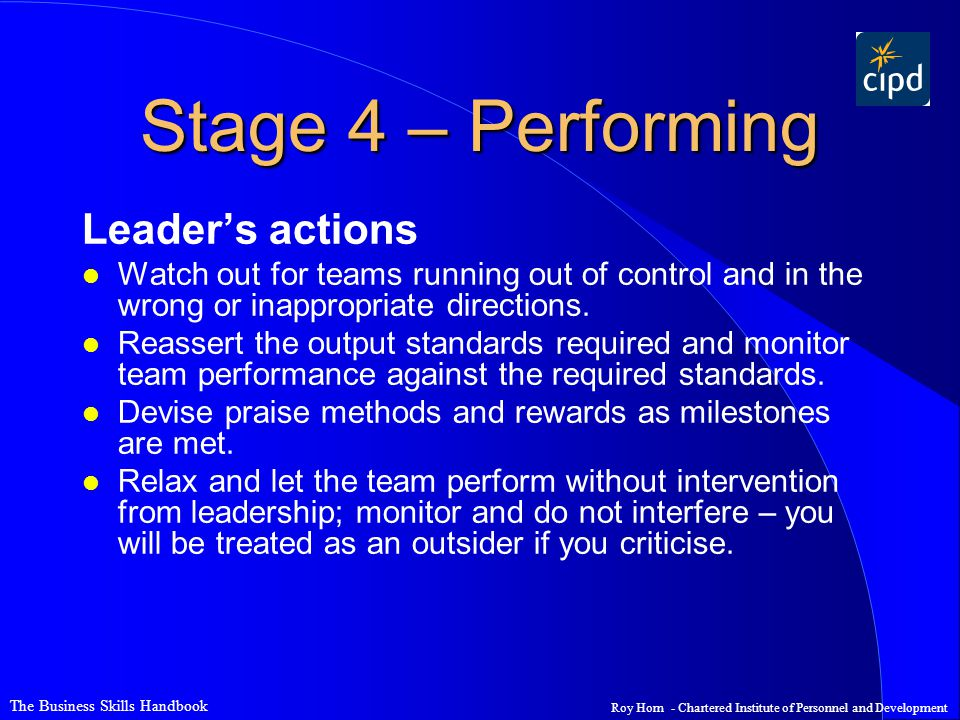 Stage 4 – Performing Leader's actions