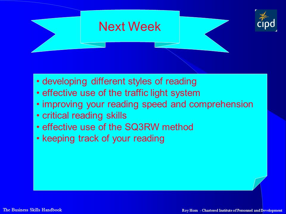Next Week developing different styles of reading