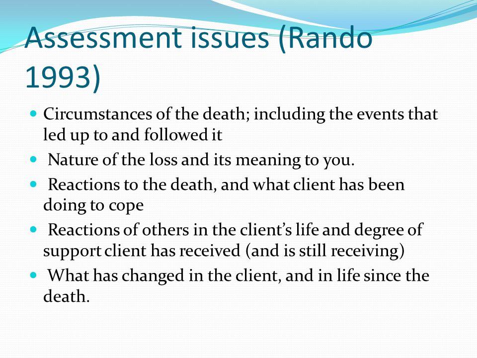 Assessment issues (Rando 1993)