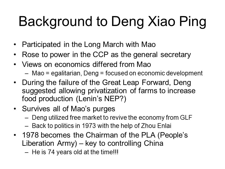 Background to Deng Xiao Ping