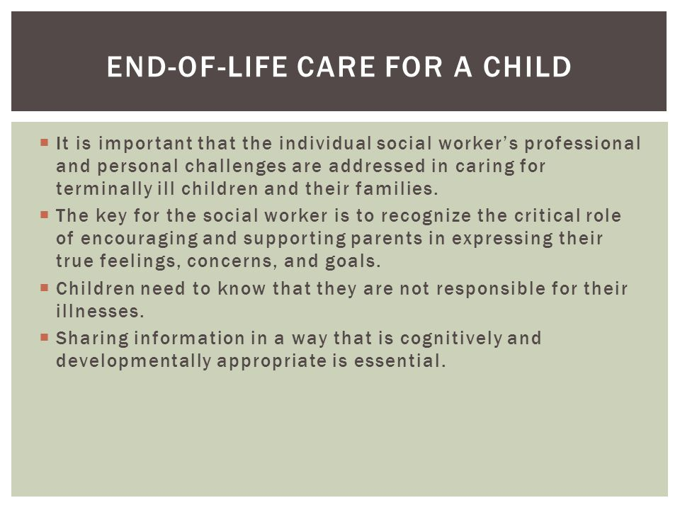 End-of-life care for a child