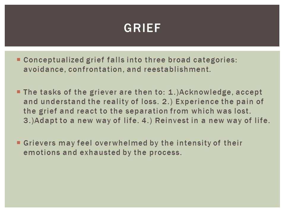 grief Conceptualized grief falls into three broad categories: avoidance, confrontation, and reestablishment.