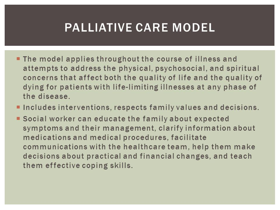 Palliative care model