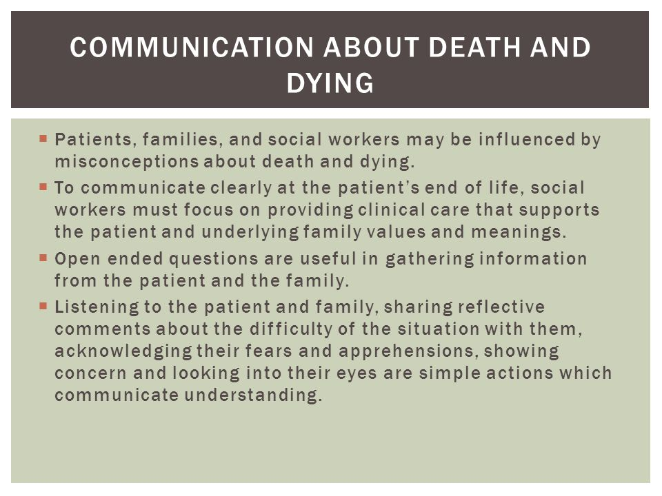 Communication about death and dying
