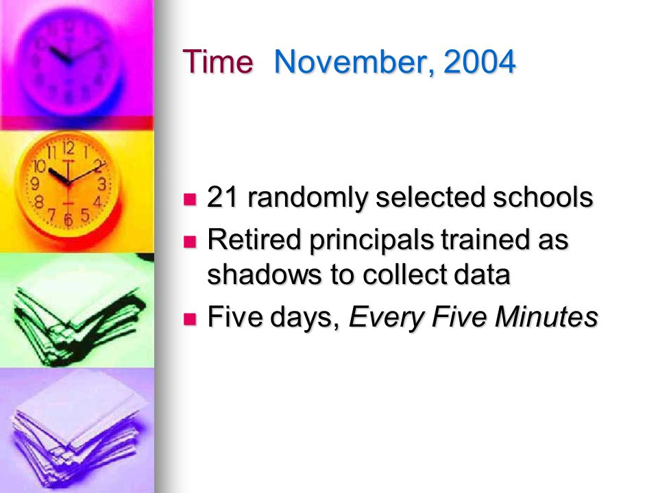 Time November, 2004 21 randomly selected schools