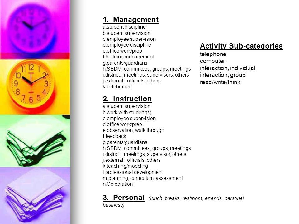 Activity Sub-categories