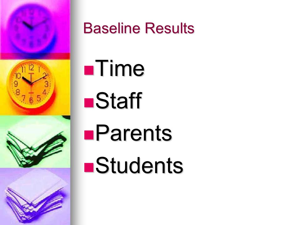 Baseline Results Time Staff Parents Students