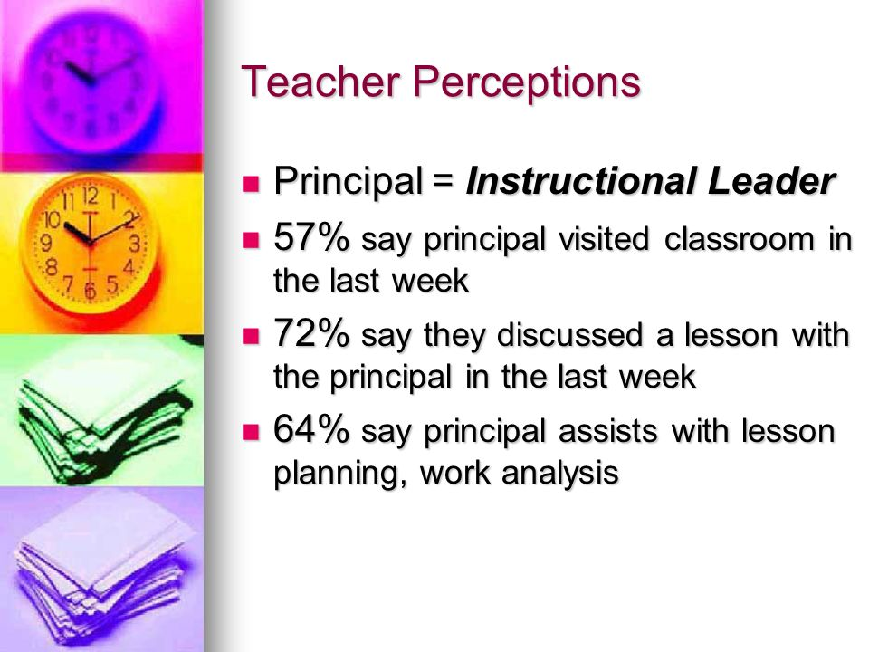 Teacher Perceptions Principal = Instructional Leader