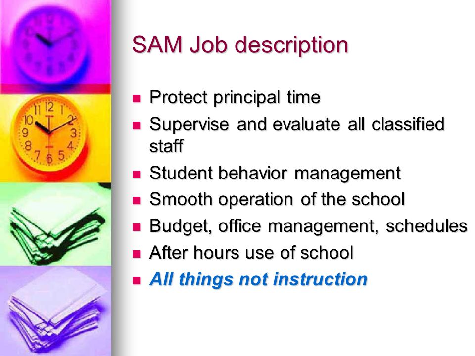 SAM Job description Protect principal time
