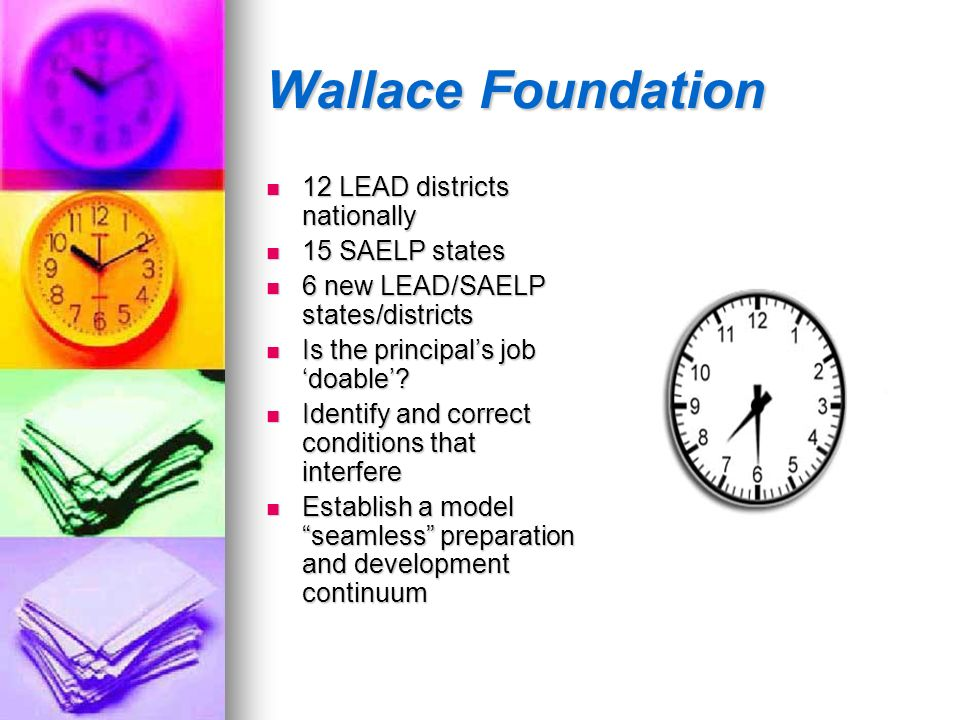 Wallace Foundation 12 LEAD districts nationally 15 SAELP states