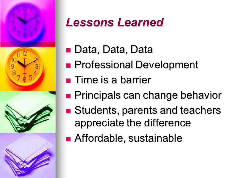 Lessons Learned Data, Data, Data Professional Development