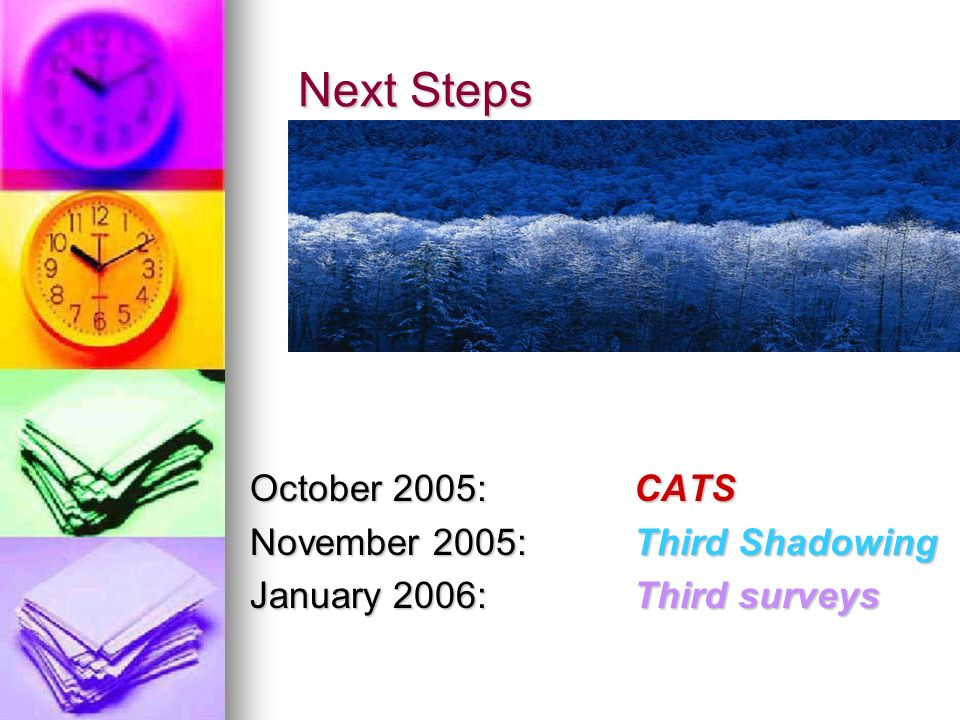 Next Steps October 2005: CATS November 2005: Third Shadowing