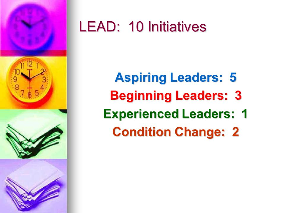 LEAD: 10 Initiatives Aspiring Leaders: 5 Beginning Leaders: 3
